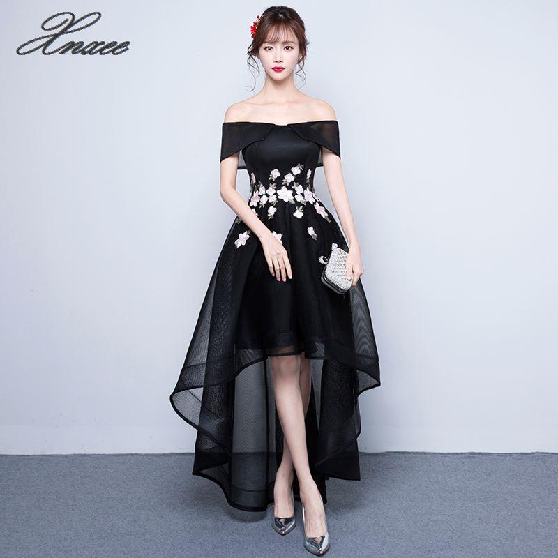 Elegant short front long backDress 2019