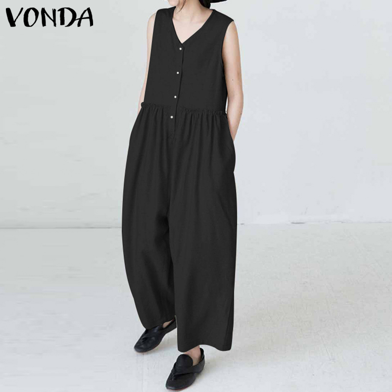 VONDA Sleeveless   Rompers   Womens Jumpsuit Summer Plus Size 2019 Casual Loose Pockets Cotton Playsuit Vintage Solid Overalls S-5XL