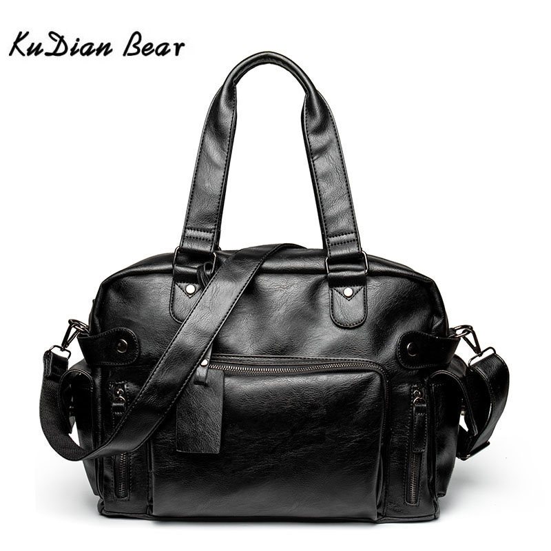 KUDIAN BEAR Simple Men Briefcase Messenger Shoulder Bags Large Capacity Handbag Business Leather Computer Bag Laptop BIG007 PM45