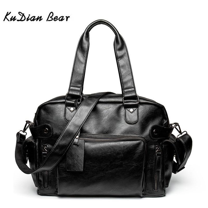 KUDIAN BEAR Simple Men Briefcase Messenger Shoulder Bags Large Capacity Handbag Business Leather Computer Bag Laptop BIG007 PM45