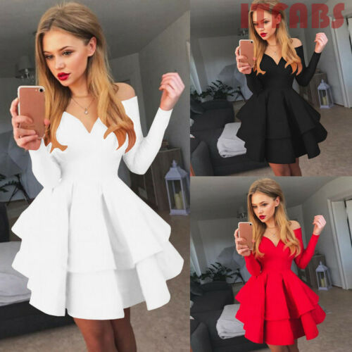 2019 seaxy women Midi long sleeve  bud Dresses Ruffles V-Neck Bodycon Cocktail Party Dress