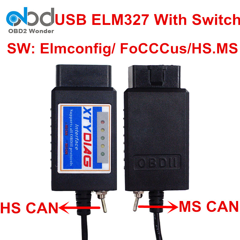 HS MS Elm327 Usb Switch V1.5 PIC18F25K80 OBDII Diagnostic Scanner Elm 327 For Cars 2006 To 2016 With Pic18f25k80 CH340 Chip