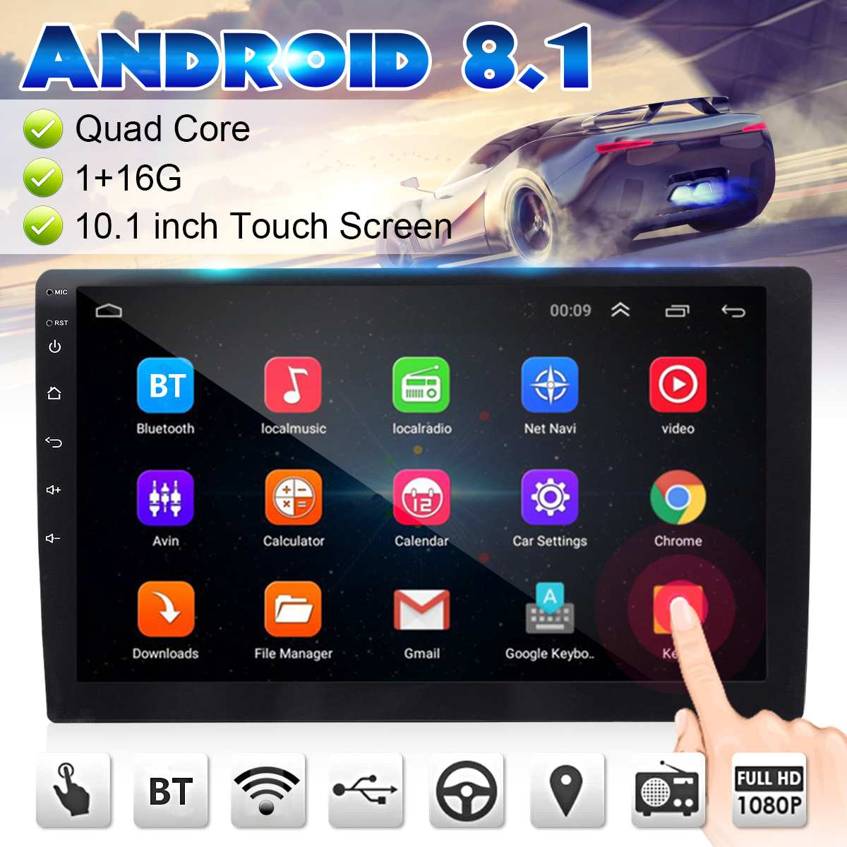 <font><b>7</b></font>/9/<font><b>10</b></font>.1 <font><b>Inch</b></font> <font><b>Android</b></font> 8.1 Car Stereo 2DIN bluetooth WIFI <font><b>GPS</b></font> Nav Quad Core Radio Video MP5 Player Car Multimedia Player 1+16G image