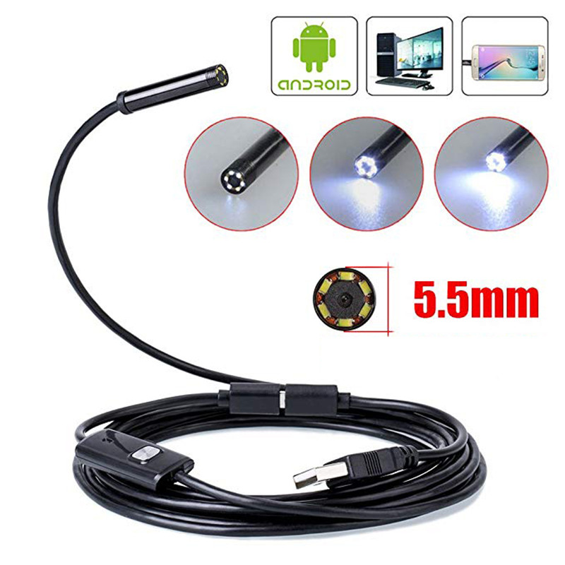 JCWHCAM 8MM Lens 720P Endoscope Camera Android USB Borescope Flexible Snake Cable Led Light Inspection Camera For Phone PC