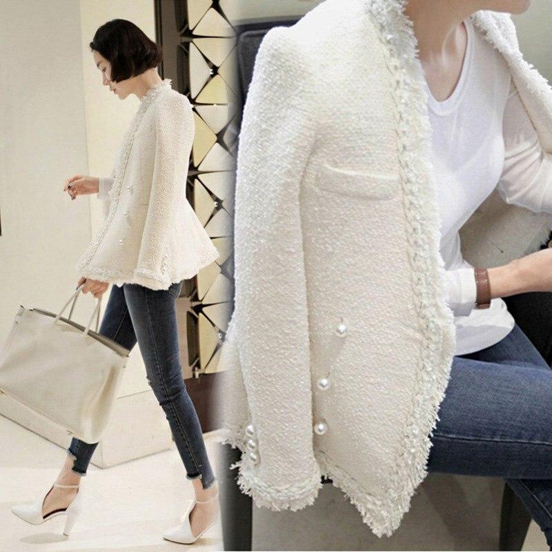 Glands Laine Casaco Femme Chaud Perles Vintage Dame Manteau Tweed De D'hiver Veste Femmes blanc Noir 2018 Élégant v4TPtn
