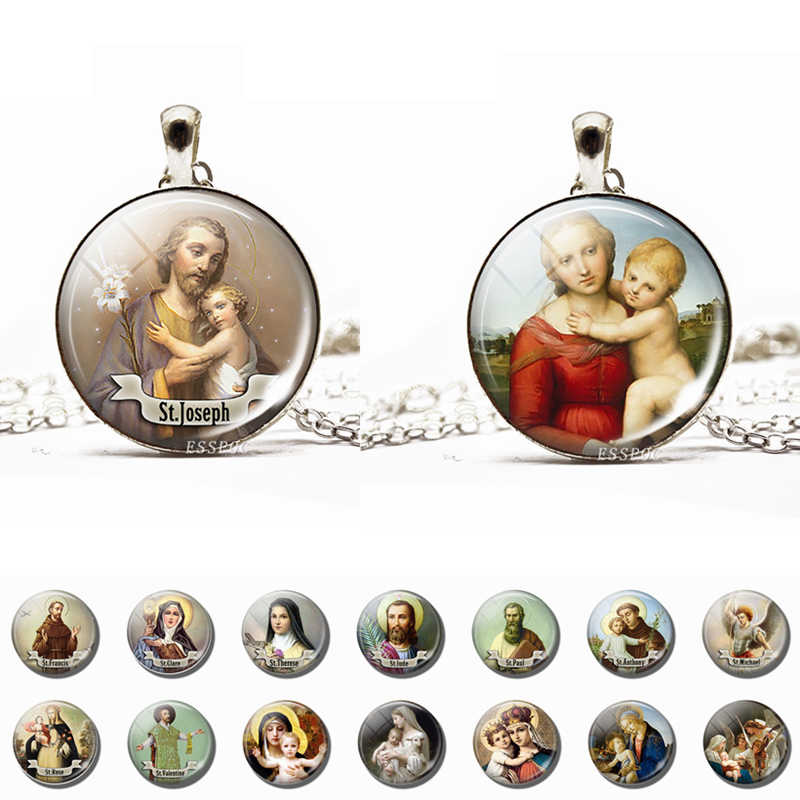 Son of God Jesus Necklace Glass Cabochon Jewelry Chain Angel Pendant Christian Virgin Mary Necklaces Gifts Dropshipping