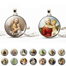 Son of God Jesus Necklace Glass Cabochon Jewelry Chain Angel Pendant Christian Virgin Mary Necklaces Gifts Dropshipping(China)