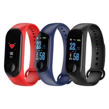 M3 צבע מסך חכם צמיד כושר Tracker מונה לב שיעור דם לחץ מידע תזכורת עמיד למים ספורט