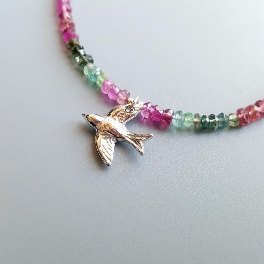 LiiJi Natuurlijke Regenboog Toermalijn Armband 925 Sterling Zilveren Vrede Duif Vogels Charm Delicate Armband Voor Vrouwen-in Amulet armband van Sieraden & accessoires op  Groep 3