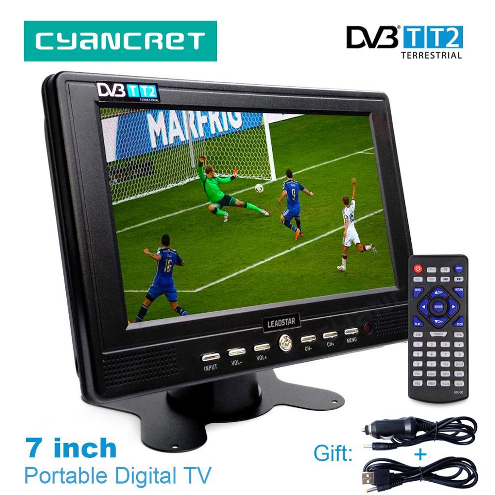 LEADSTAR D768 7 дюймов Портативный ТВ DVB-T2 тдт цифровых и аналоговых мини маленький автомобиль ТВ телевидения Поддержка USB TF карты MP4 AC3