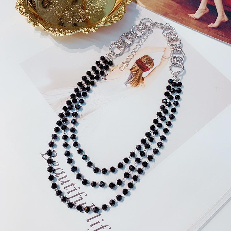 FYUAN di Modo 3 Strati Collana Girocollo Per le donne New Bijoux di Cristallo Nero Collane A Catena Dichiarazione Dei Monili dei Regali Del Partito