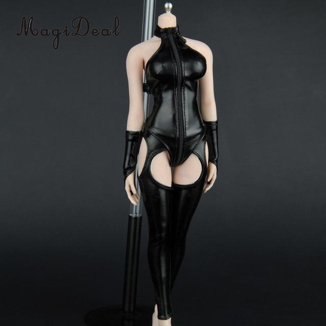 Charming 1/6 PU Leather Hot Faux Corset Tights Gloves Sexy Set for Action Figure Dolls Accessories Girls Toys
