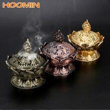 Цинковый сплав, ароматическая горелка, китайский Будда, держатель для благовоний, цветок лотоса, сандаловое дерево, курильница для домашнего офиса, для использования, домашний декор