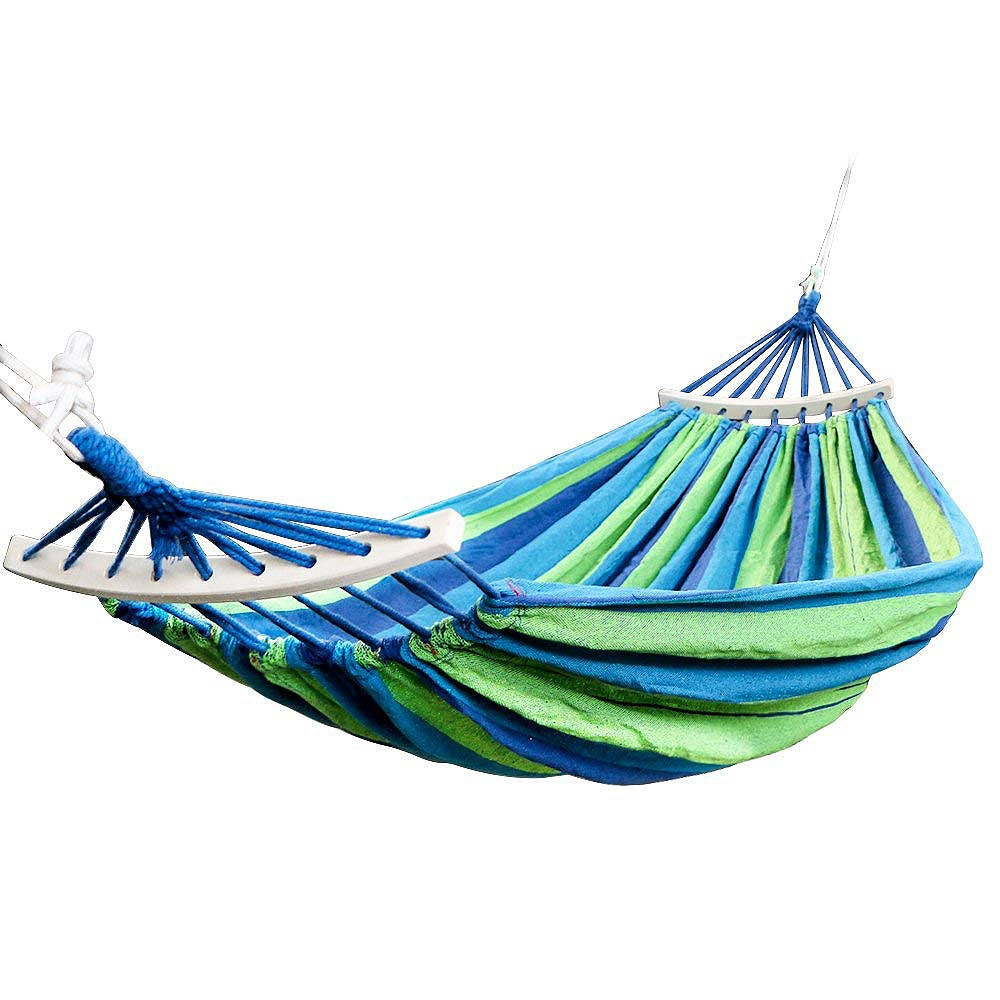 Double Hammock 450 Lbs Portable Travel Camping Hanging Hammock Swing Lazy Chair Canvas  Stripe Hang Bed With Backpack Accessory