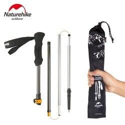 NatureHike 1 sztuk 5-sekcja z włókna węglowego kijki trekkingowe Ultralight regulowany kij do trekkingu kijki trekkingowe s Camping Trekking kij