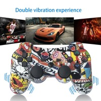 Free shipping K ISHAKO for PS3 Controller Wireless Double Shock Gamepad for Playstation 3 Remot Cartoon doodle