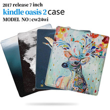BOZHUORUI Fashion Painted Cover Case fit 7 Kindle Oasis 2 (9th Generation) eReader for 2017 Magnetic Smart