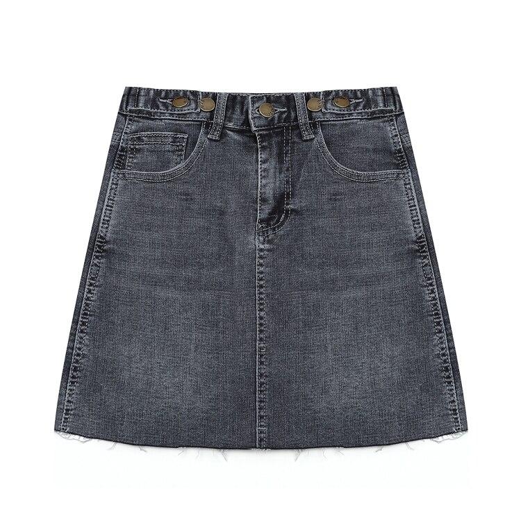 100% QualitäT Sommer Frauen Denim Röcke Sommer Dünne Faldas Mujer Feste Hohe Taille Saia Jeans Casual A-linie Röcke
