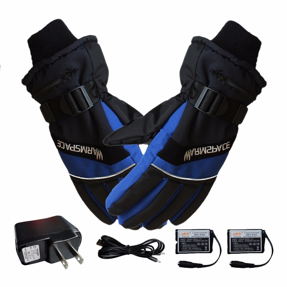 1 Pair Winter Usb Hand Warmer Electric Thermal Gloves Waterproof Heated Gloves Battery -2604