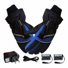 лучшая цена 1 Pair Winter USB Hand Warmer Electric Thermal Gloves Waterproof Heated Gloves Battery Powered For Motorcycle Ski Drop shipping