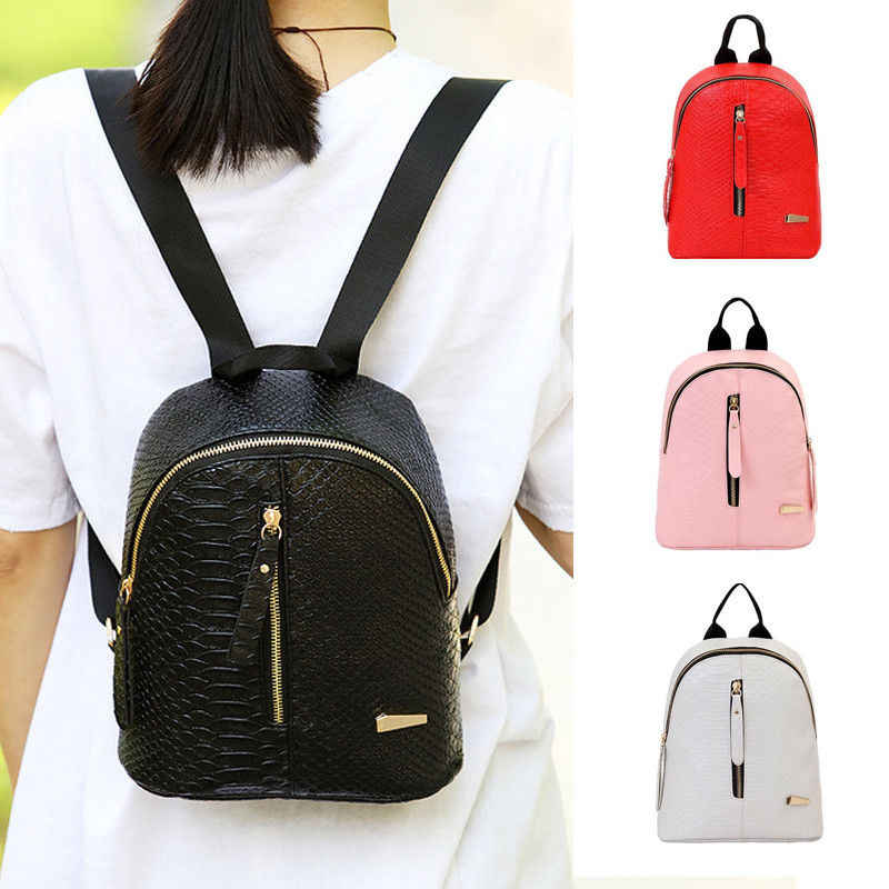 6441e8b354e2 Fashion New Arrivals Women PU Leather Backpack Satchel Shoulder School Bag  Black Portable Multifunction Zipper Sweet