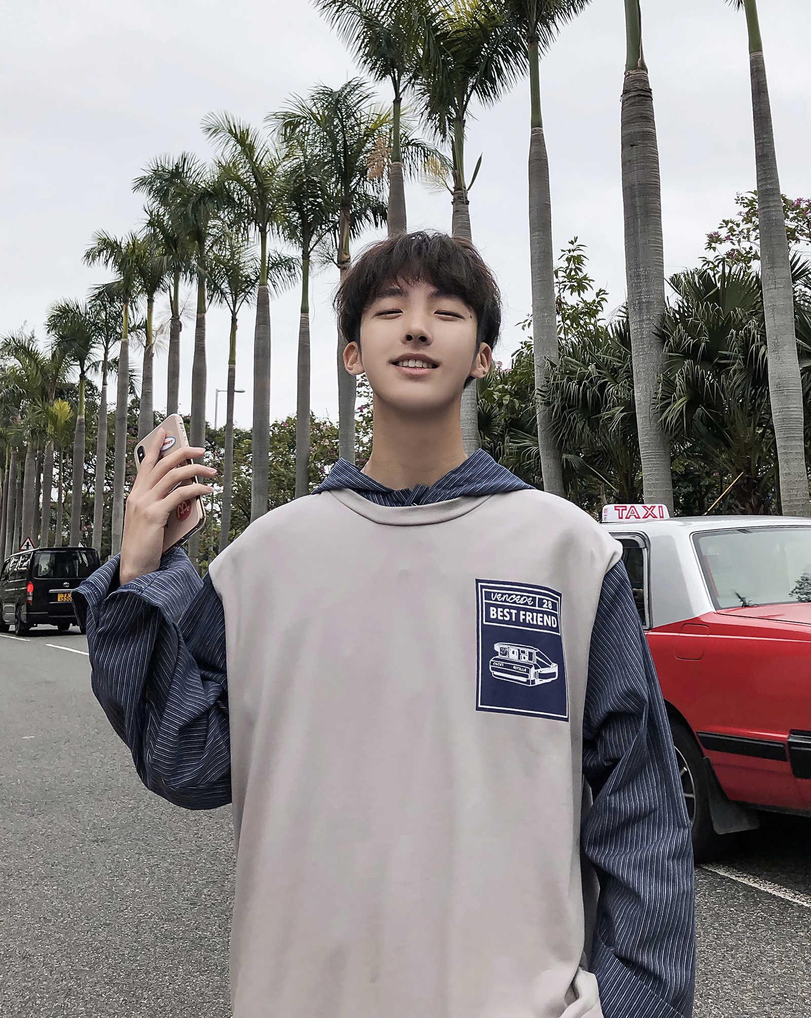 Algodón Casual Suelto Hombres M Japoneses Sudaderas Celosía De Los Pespuntes 2019 Gray Estilo Con Abrigos Del xl Moda Color Capucha Impresión nZ8xTtwq