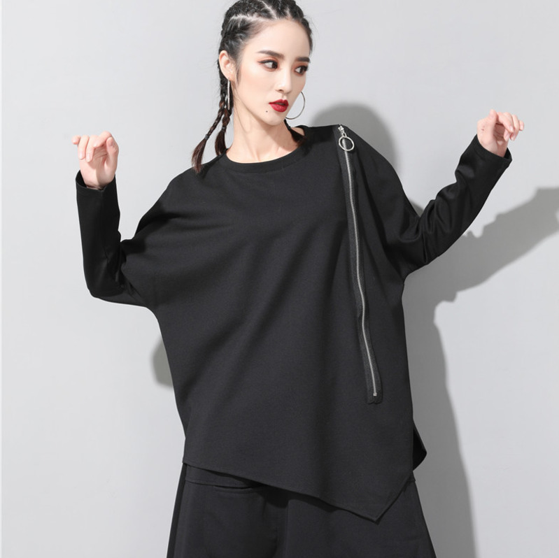 [EAM] 2020 New Spring Autumn Round Neck Long Sleeve Black Oblique Zipper Irregular Hem Big Size T-shirt Women Fashion Tide JQ706 5