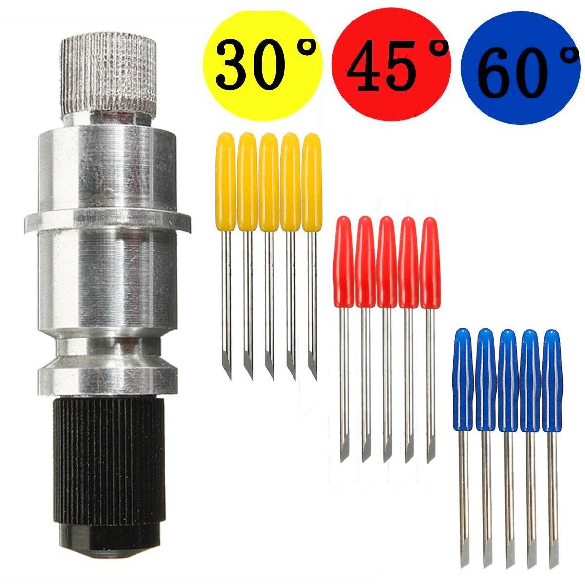 New 5pcs 30/45/ 60 Degree Vinyl Cutter Plotter Blades + Blade Holder For Graphtec CB09 Tungsten Steel Milling Cutter
