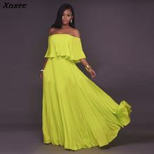 Xnxee Women Long Dress 2019 Newest Yellow White Chiffon Slash Neck Off Shoulder Fashion Vestidos Sexy Party Dresses