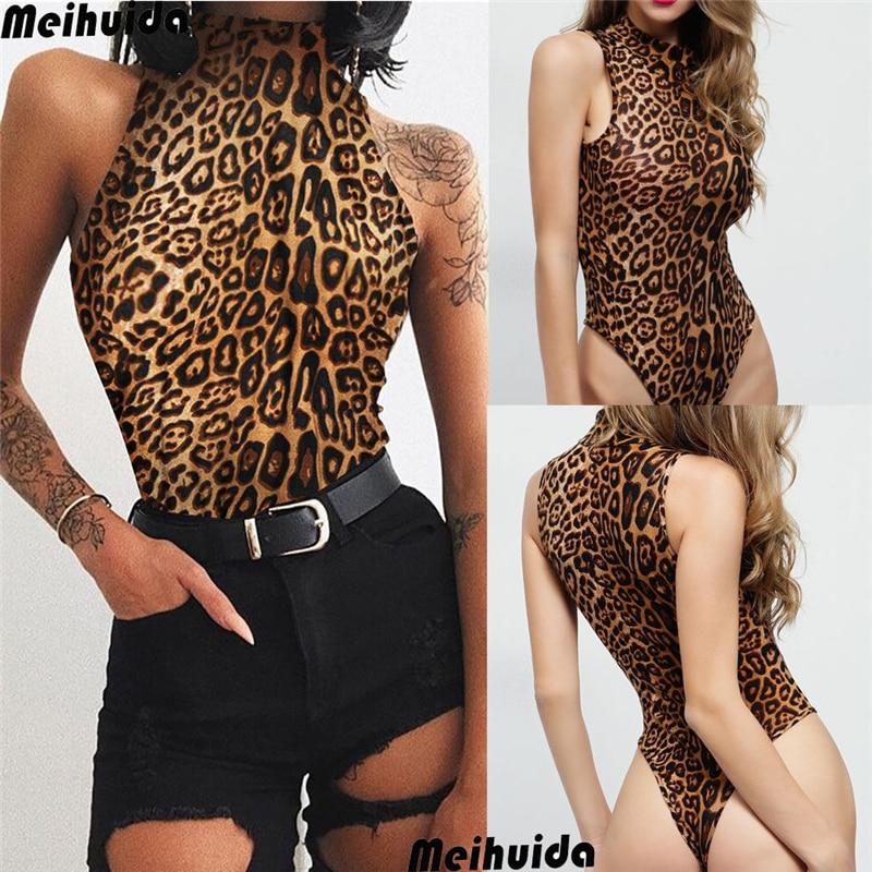 Women's Sexy Sleeveless Leopard Jumpsuit Ladies Stretch Leotard Bodysuit Jumpsuit Romper Top Bodycon Playsuit