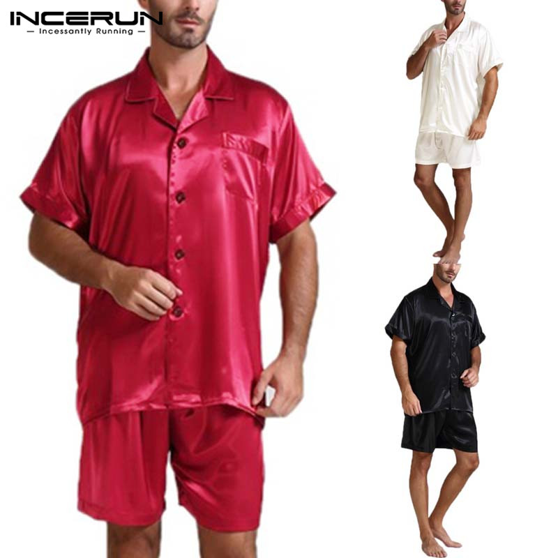 INCERUN Summer Fashion Silk Satin Men Pajamas Sets Soft Homewear Short Sleeve T Shirt Shorts Two Piece Men Sleepwear Suits S-5XL