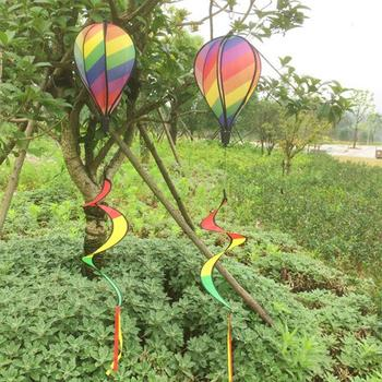 Hot Air Balloon Wind Spinner Yard Garden Decor Decorative Stakes Outdoor Rainbow Sequins Color Windsock Striped Wind Spinners