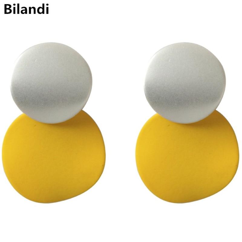 Милый дизайн, круглые плетеные двухцветные резиновые разноцветные модные серьги для женщин, ювелирные изделия, желтые, синие, белые, розовы...