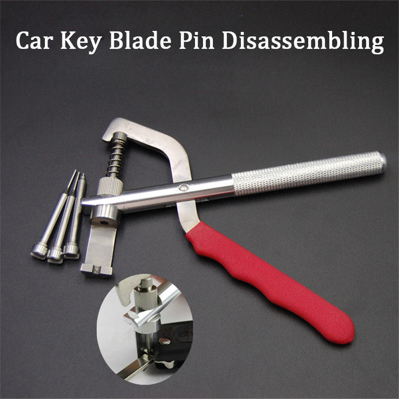 Auto Remote Key Blade Pin Disassembling Clamp Locksmith Pilers Tool W/ 3Pcs Pins Automotive Tools