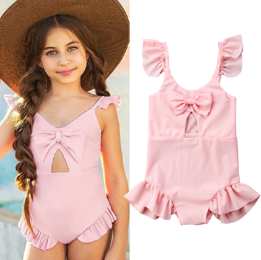 Pure Pink Ruffles Style One Piece Swimsuit For Baby Girl Bowknot Sweet Baby Girl Swimwear 2018 Summer Bathing Suit BeachwearPure Pink Ruffles Style One Piece Swimsuit For Baby Girl Bowknot Sweet Baby Girl Swimwear 2018 Summer Bathing Suit Beachwear