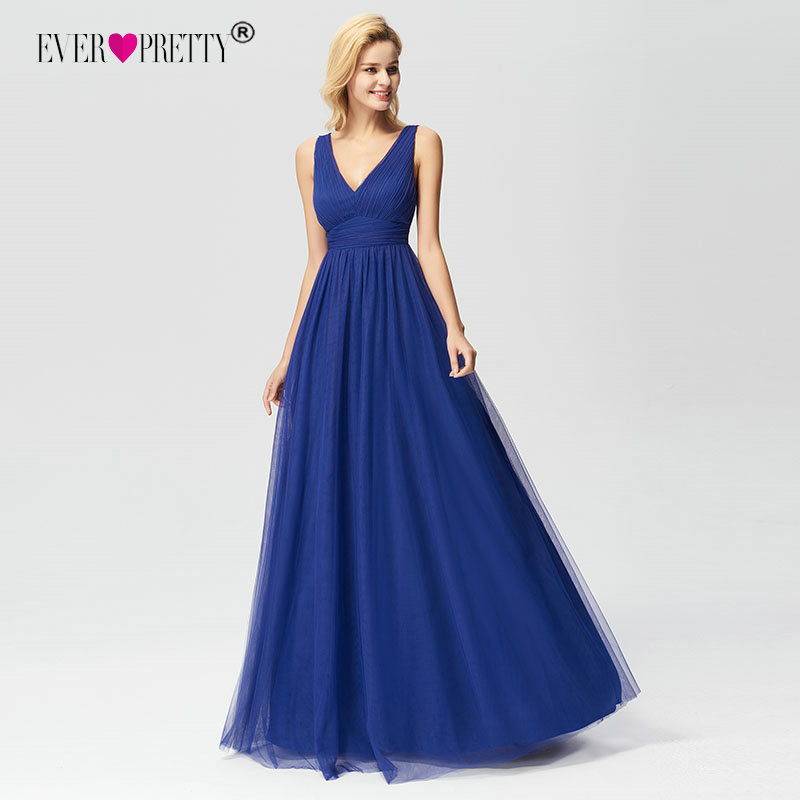 New Arrival Prom Dresses 2019 Ever Pretty EZ07645 Elegant A-line V-neck Tulle Royal Blue Long Party Gowns Vestido De Graduacion