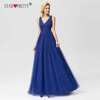 New Arrival Prom Dresses 2019 Ever Pretty EZ07645 Elegant A-line V-neck Tulle Royal Blue Long Party Gowns Vestido De Graduacion - DISCOUNT ITEM  20% OFF All Category