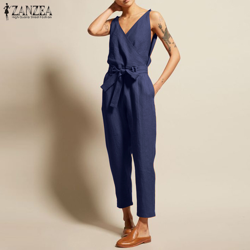 Overalls Womens Jumpsuits 2019 ZANZEA Fashion Linen Pantalon V Neck Sleeveless Playsuits Combinaison Femme Casual Summer Pants