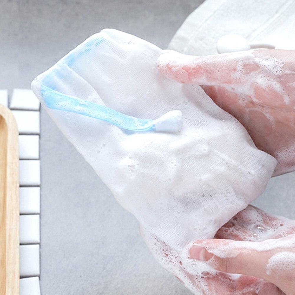 2PCS Net Shower Cleaning Glove Bathroom Drying Mesh Bath Soap Bag Massage Drawstring Wash Easy Bubble Foaming Hanging Scrub Bags