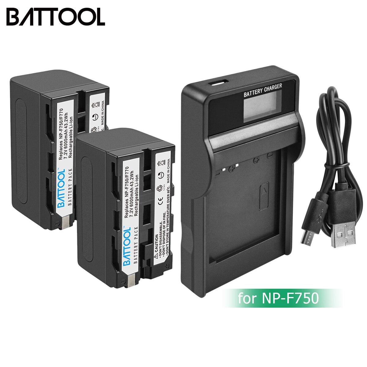 Bonacell 6000mAh NP-F770 NP-F750 NP F770 Np F750 NPF770 750 Batteries+LCD Charger For Sony NP-F550 NP-F770 NP-F750 F960 F970 L10