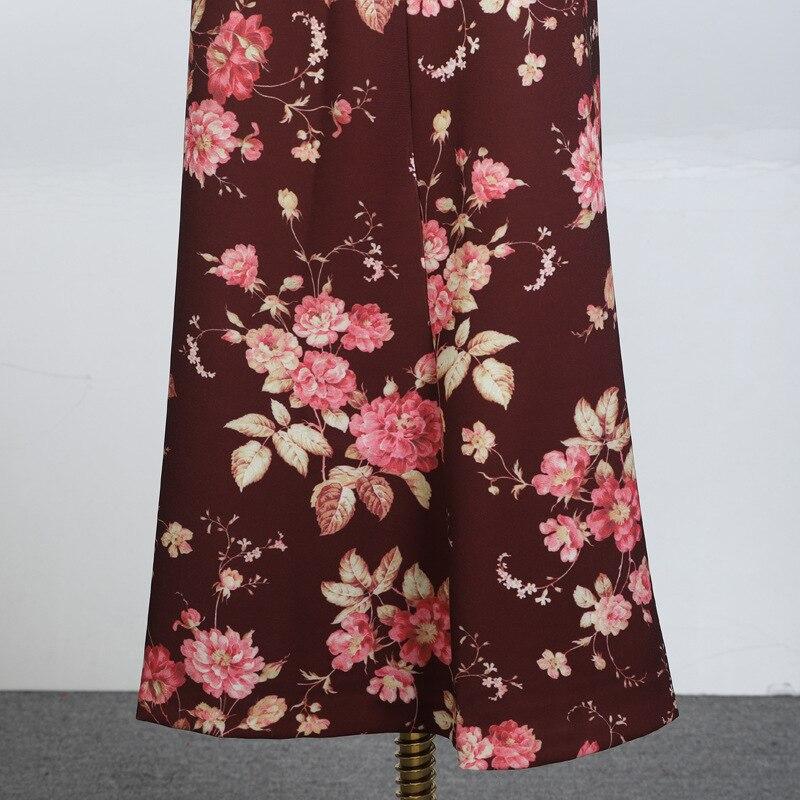 Elegante Estampado Las Mujeres Temperamento Larga As Floral Vintage Oxant Estilo Picture Falda De Con Textura Zq4nW7C