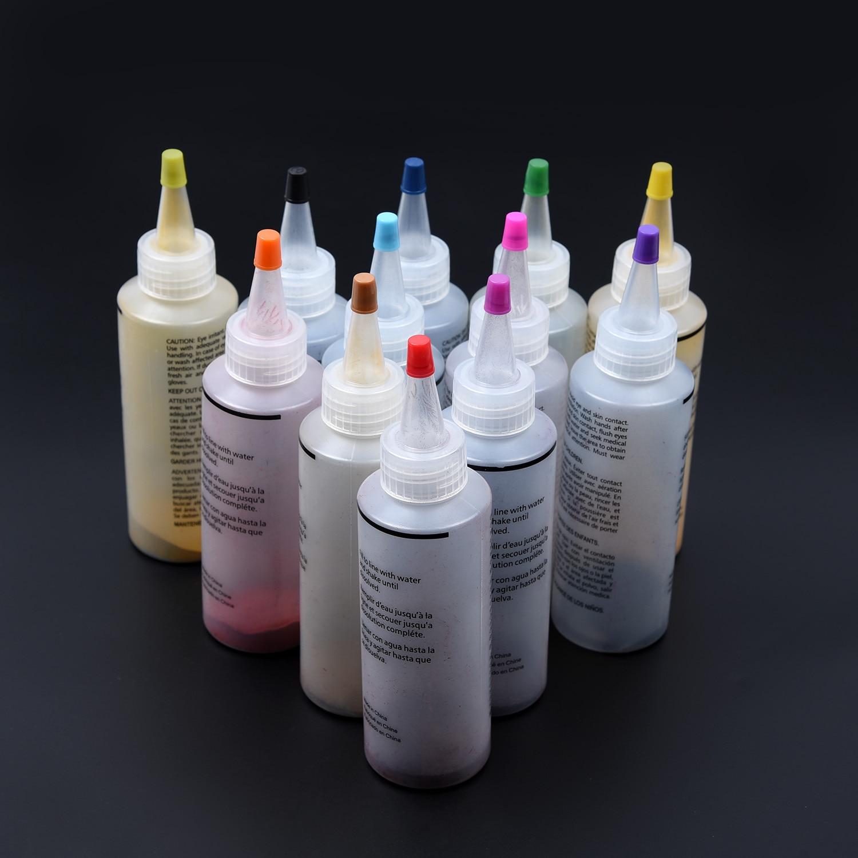 Cores DIY Tulip 12 Um Passo Kit Tecido Têxtil Tinta Permanente Vibrante Cor Da Tintura do Laço Para Vestuário Artesanato Morrendo de Reposição com Luvas