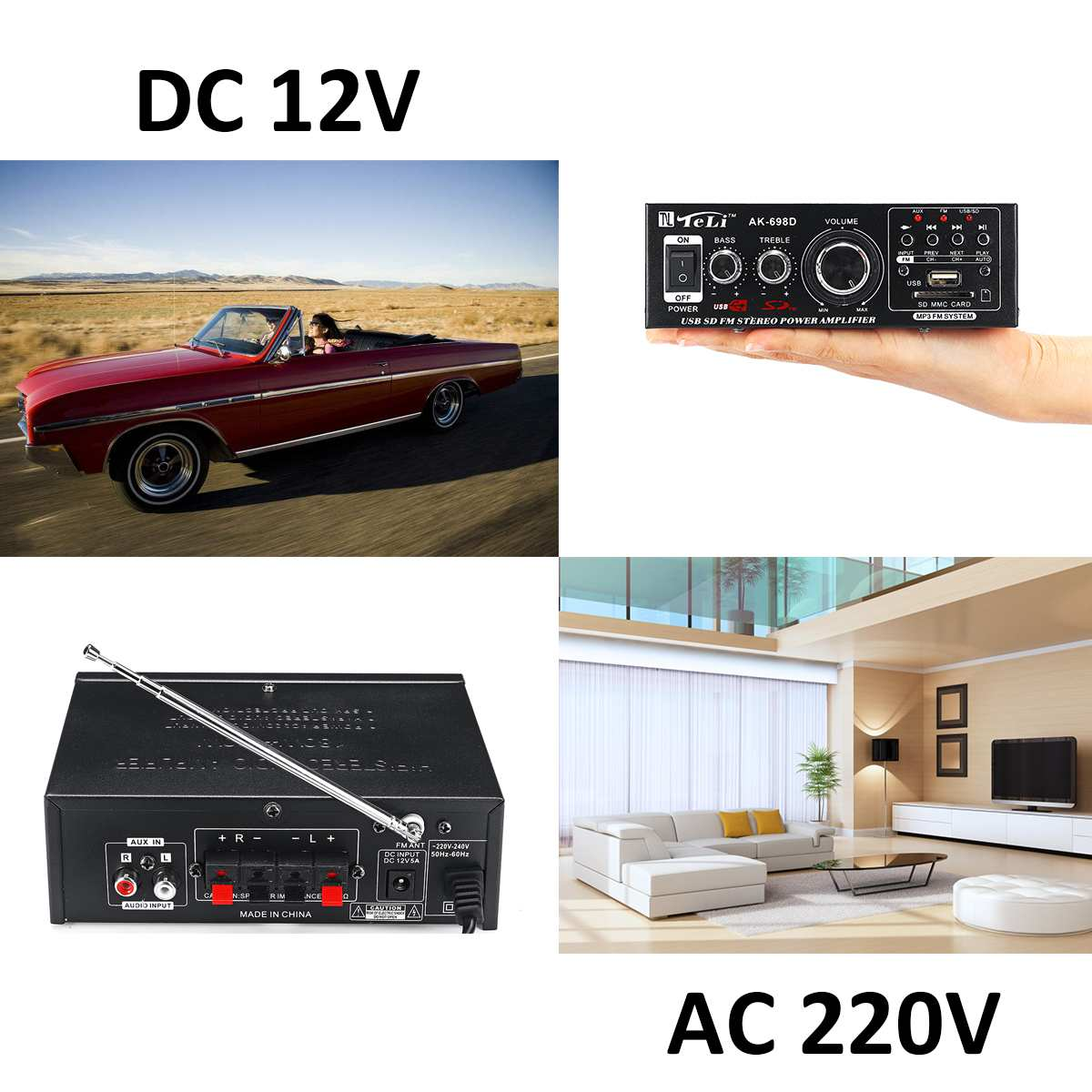 360W 12V/220V HIFI Audio Stereo Power Amplifier FM Radio 2CH Car Home Amplificador Audio with Remote Control