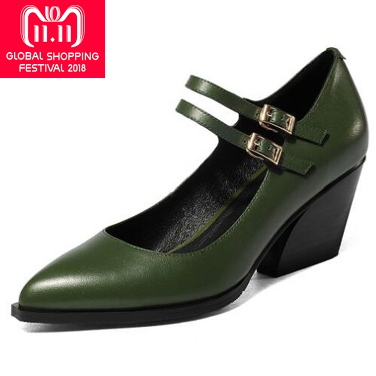 {Zorssar} women pumps pointed toe wedges high heels Large size womens shoes 2017 woman Genuine leather casual office shoes zorssar fashion real leather womens pumps pointed toe high heels mary jane shoes low heel women shoes woman sandals green
