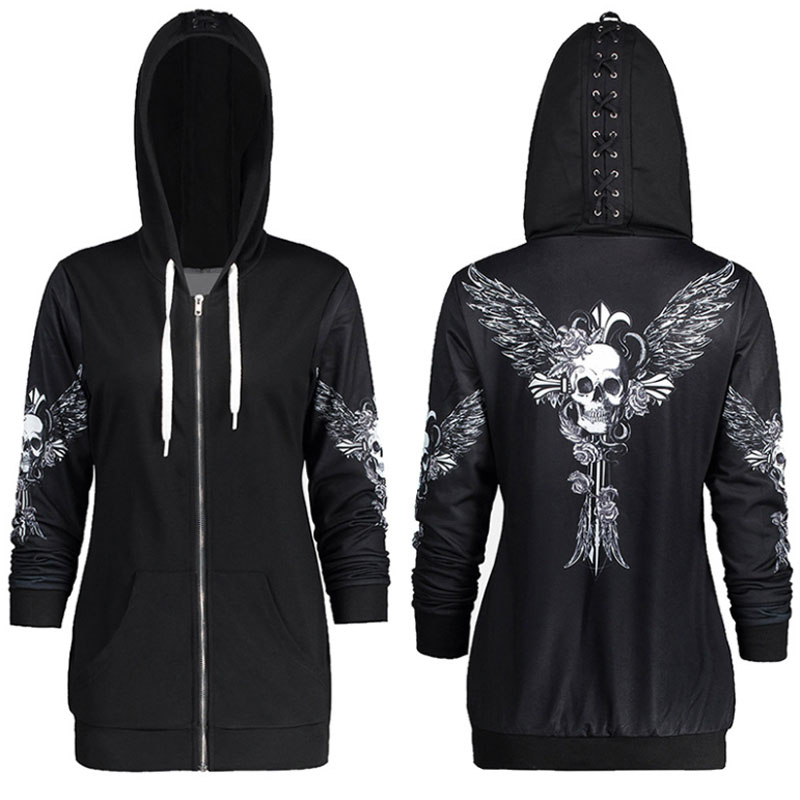 Women Skull Wings Print Halloween Hoodie 2019 Spring Long Sleeve Zip Up Sweatshirt Coat Streetwear Cool Black Tops