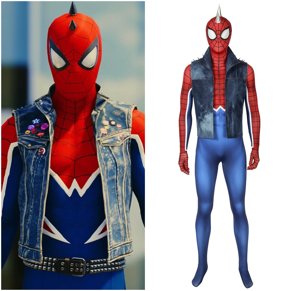 Spider-Man PS4 Spider-Punk Cosplay Costume Men Rock Outfit