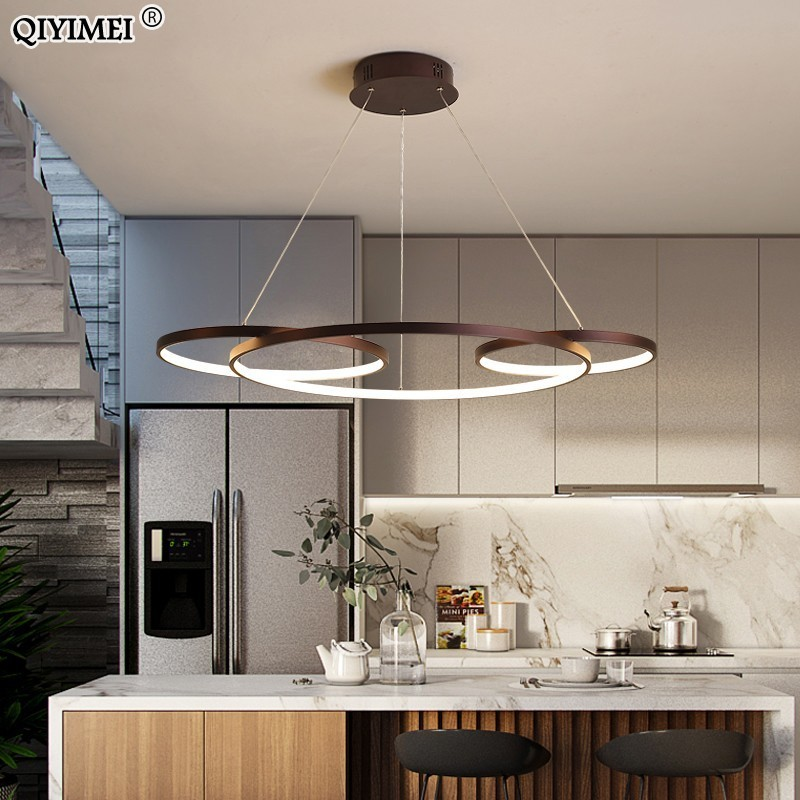 NEW Led Pendant Lights Living Room bedroom Superimposed circle Aluminum Remote Control Hanging Lighting Fixture Kitchen