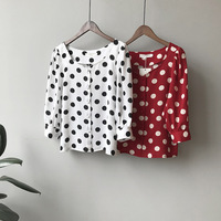 abb505e628 Puff Sleeve Polka Dot Printed Women Red Shirt Three Quarter Sleeve Summer  Chiffon Tops Blouse. Manga sopro Polka Dot Impresso Mulheres Camisa ...