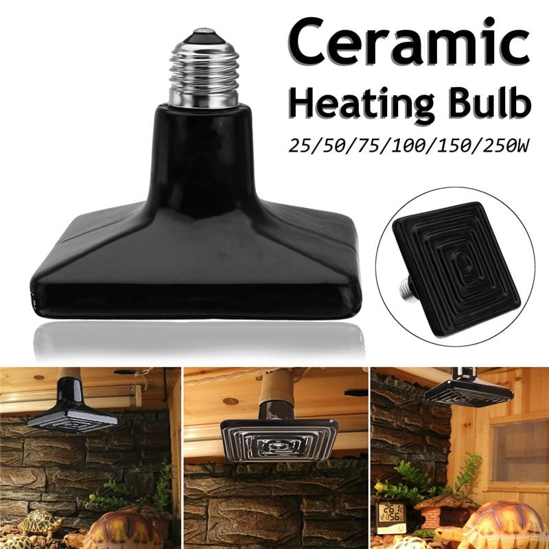 Pet Heating Lamp E27 External Ceramic Emitter Heat Bulb Black Suitable For Reptile Pet Brooding Lamp AC220V 25-250W Optional