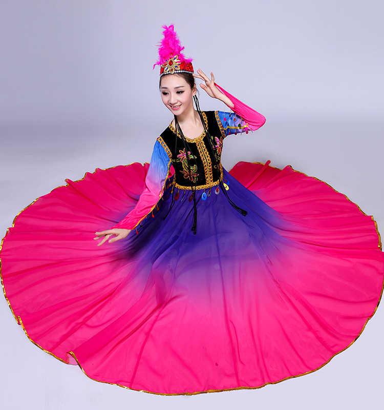 b5f974d18 ... New Xinjiang Uygur Dance Performance Costumes Female Ethnic Minority  Stage Performance As Adult Dress Folk Dance